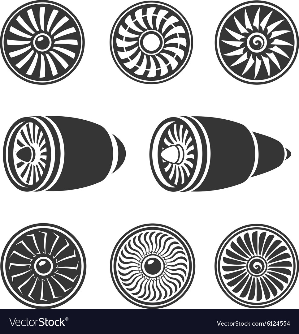 Turbines icons set airplane engine silhouettes vector