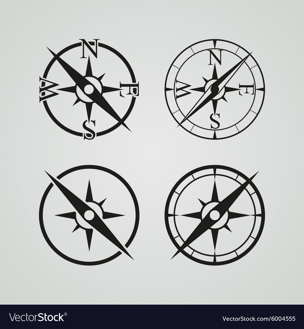 Icons depicting four different compasses vector
