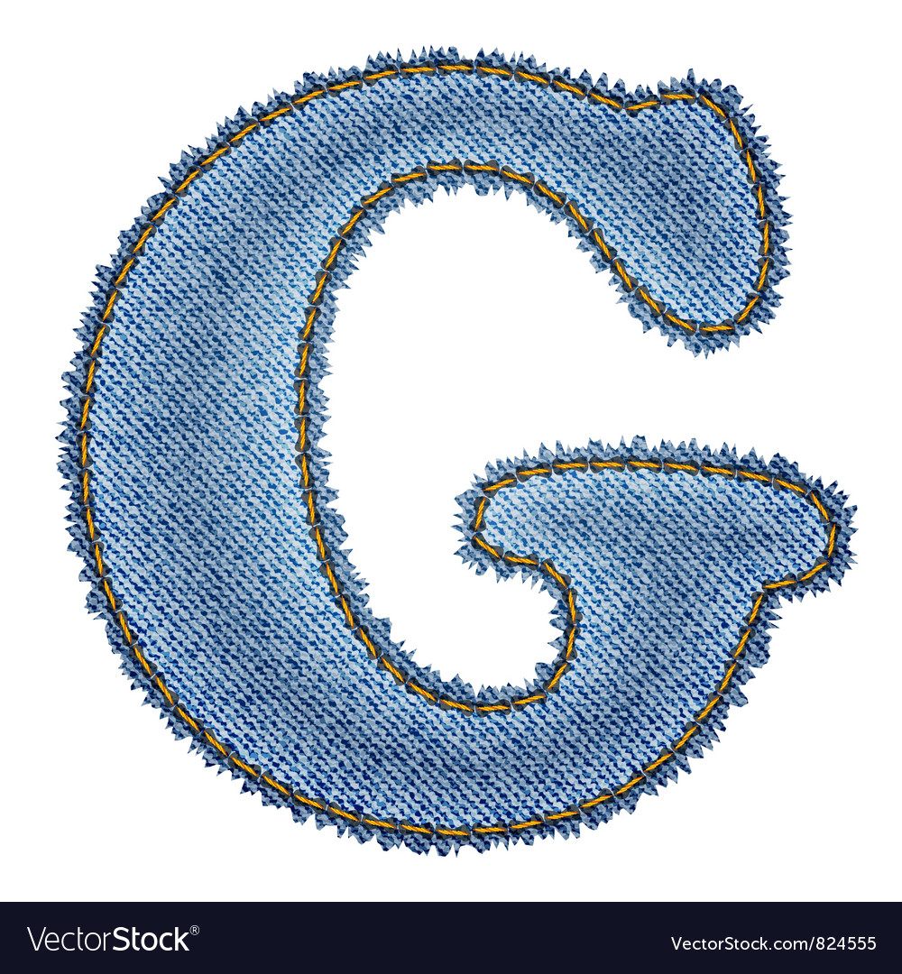 Jeans alphabet denim letter g vector