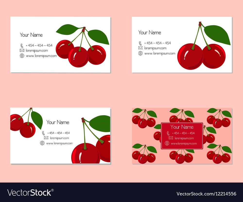 Business cards with juicy ripe cherry fruit vector