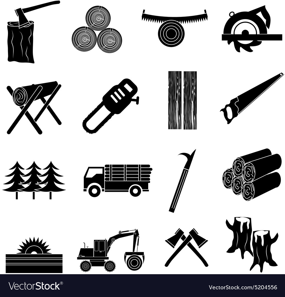 Timber icons set vector