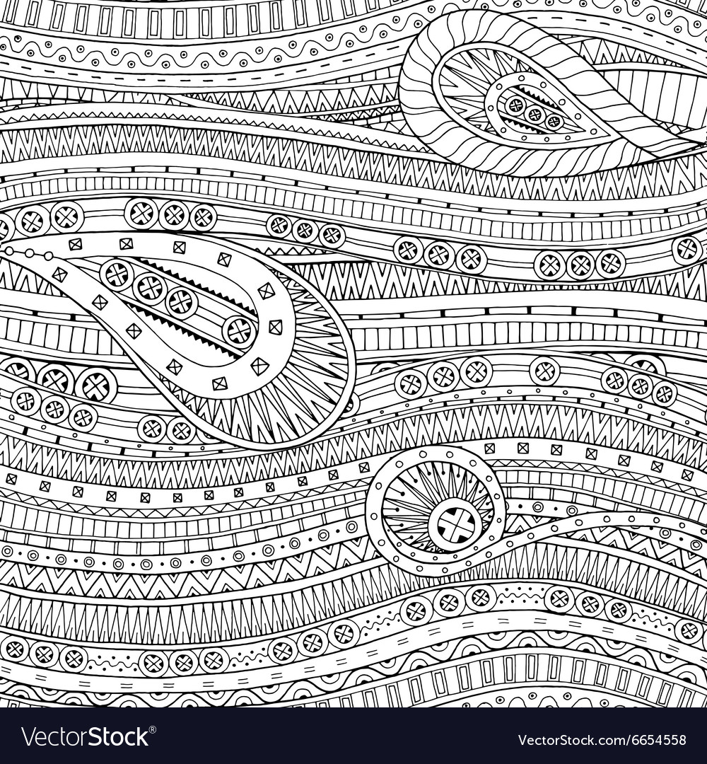 Doodle pattern with doodles and ethnic pattern vector