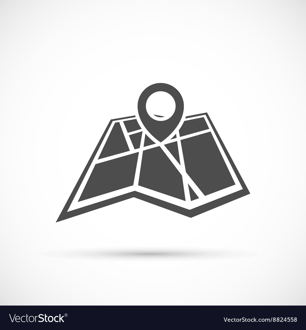 Folded map with point icon vector