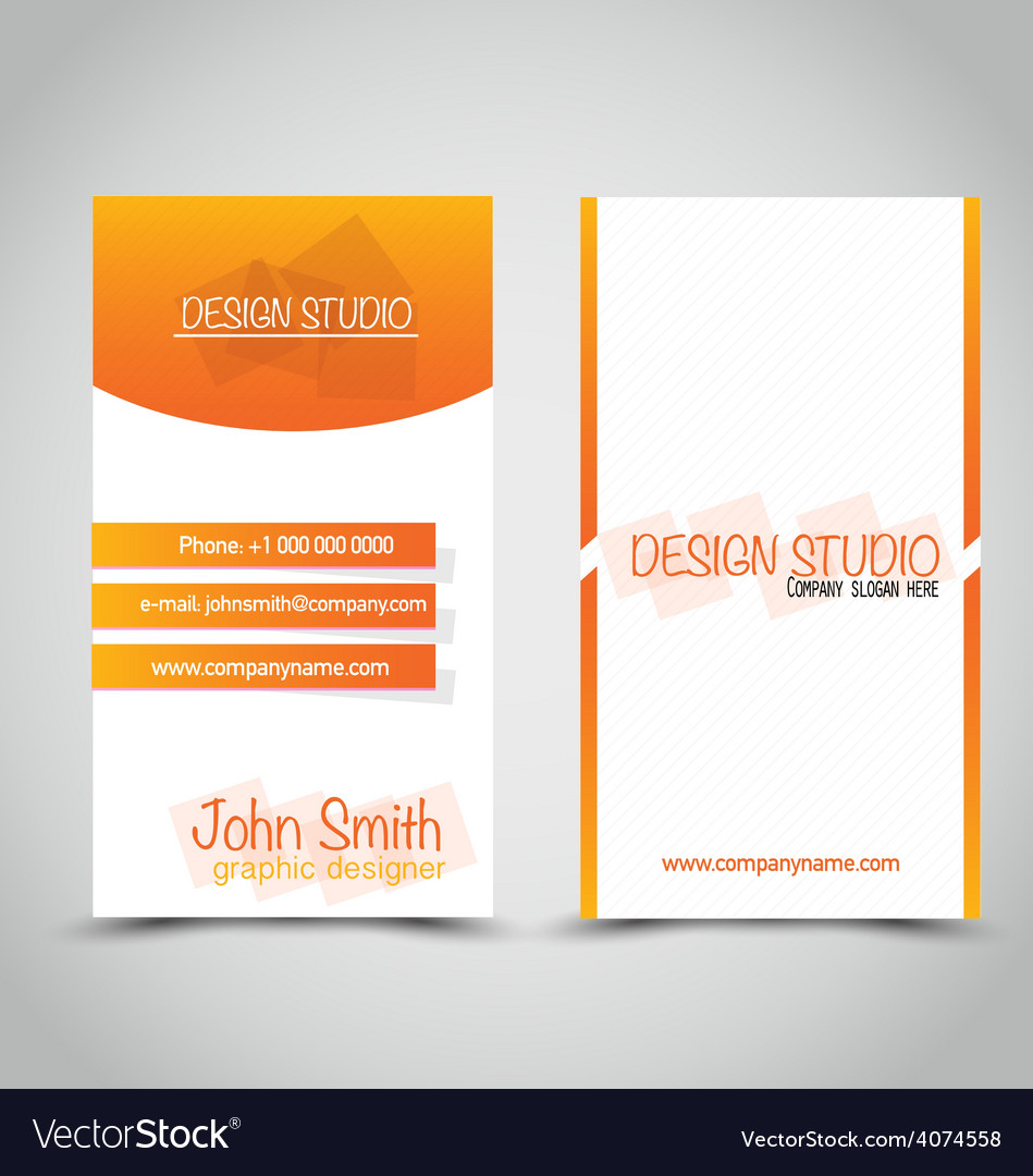 Vertical business card set template orange and vector