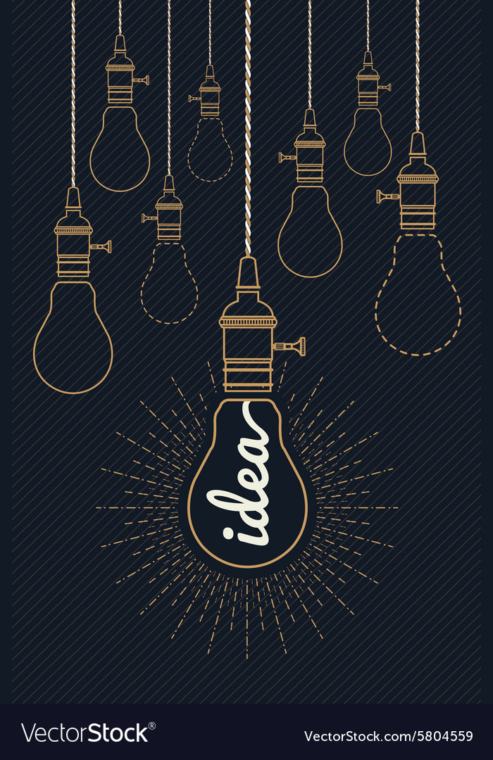 Vintage bulb idea with ray burst vector