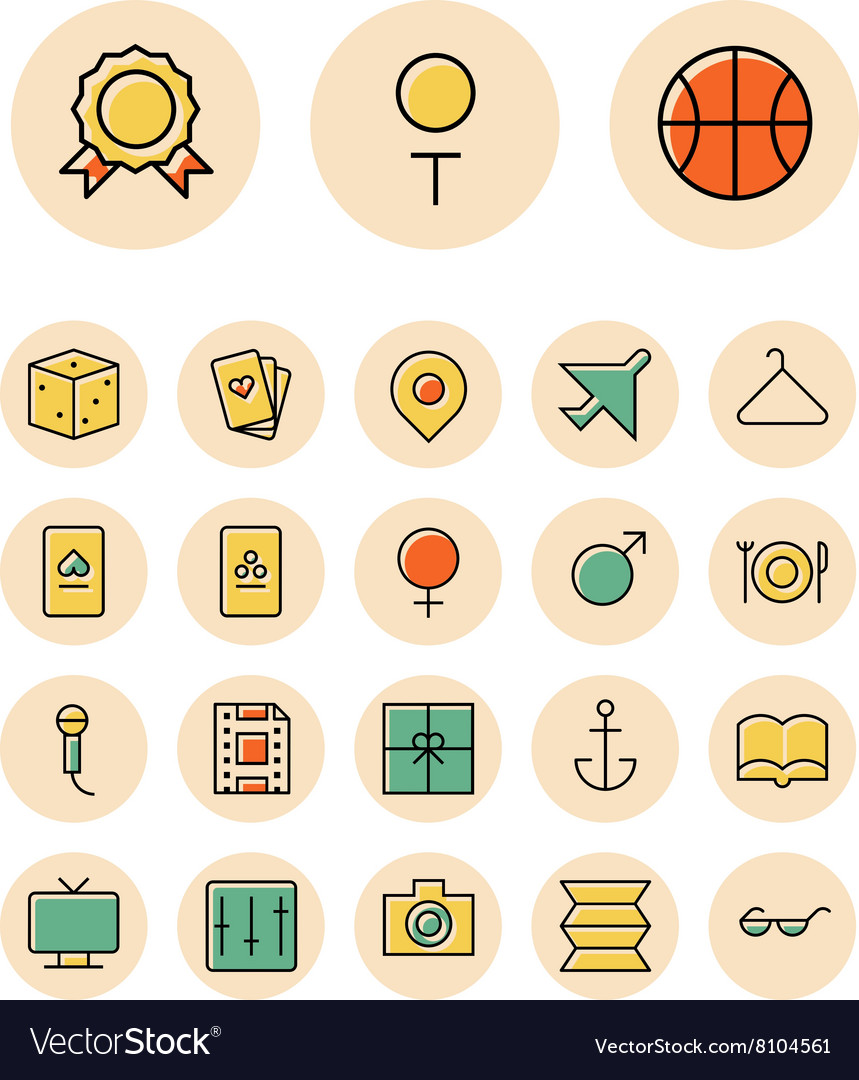 Icons thin red leisure travel vector