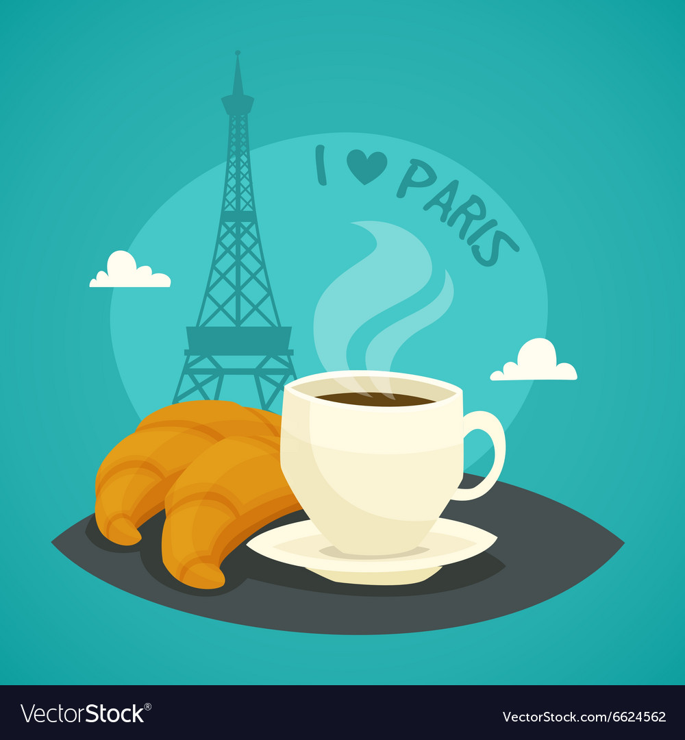 Cup of morning coffee with croissants vector