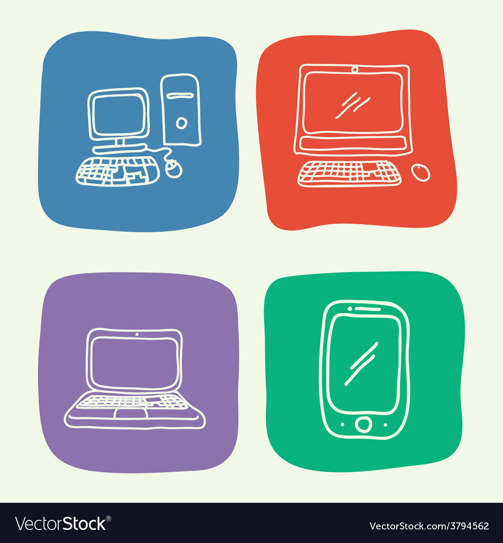 Gadgets drawn vector