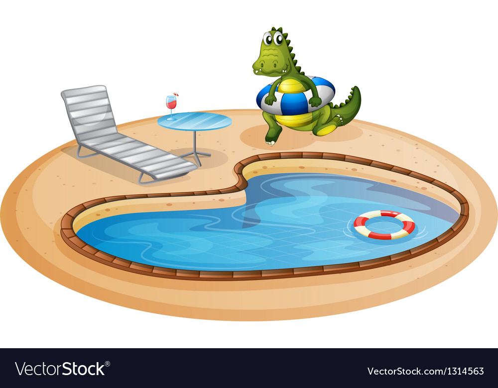 A swimming pool with a crocodile inside a buoy vector