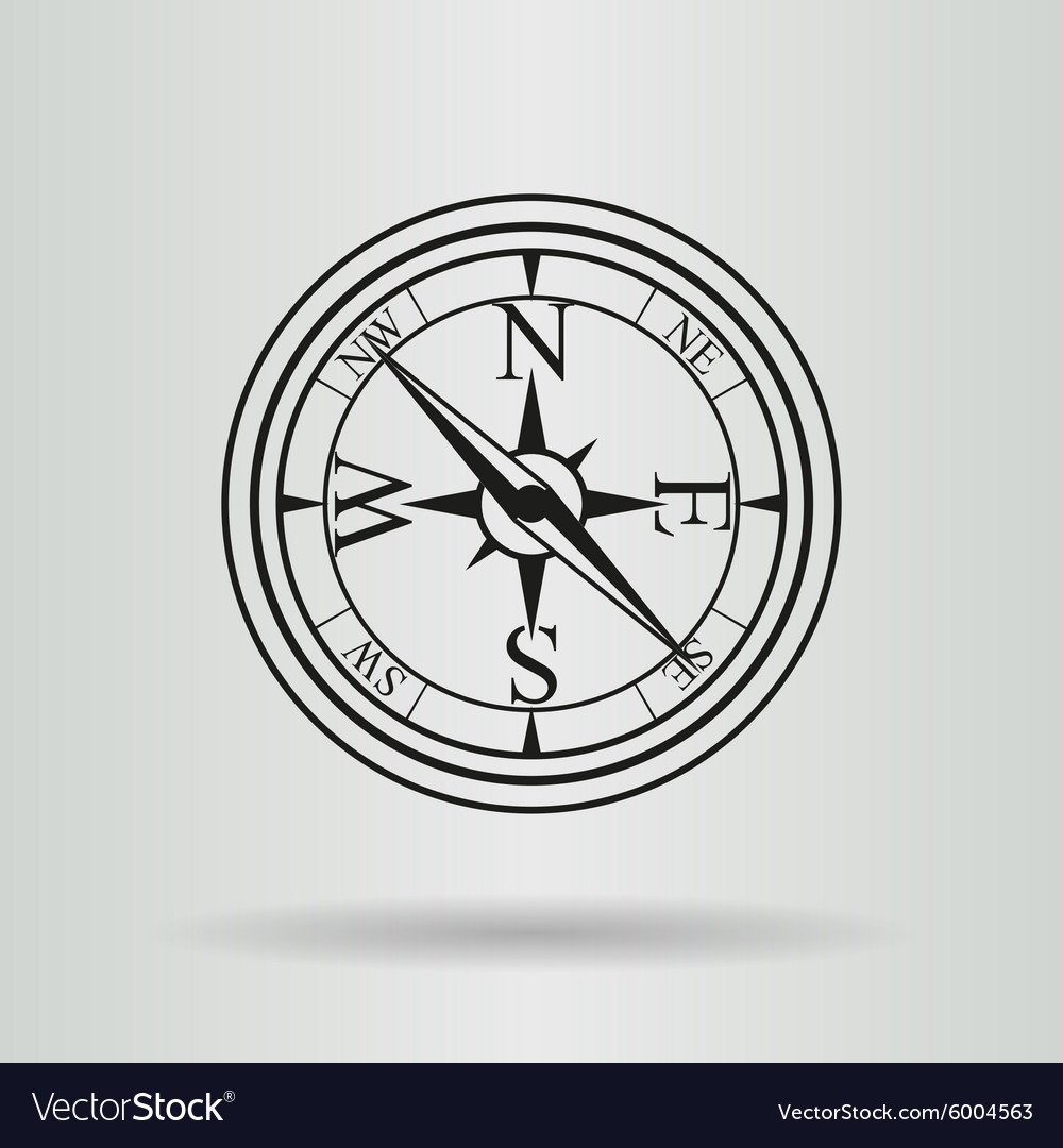 Line compass with cord vector