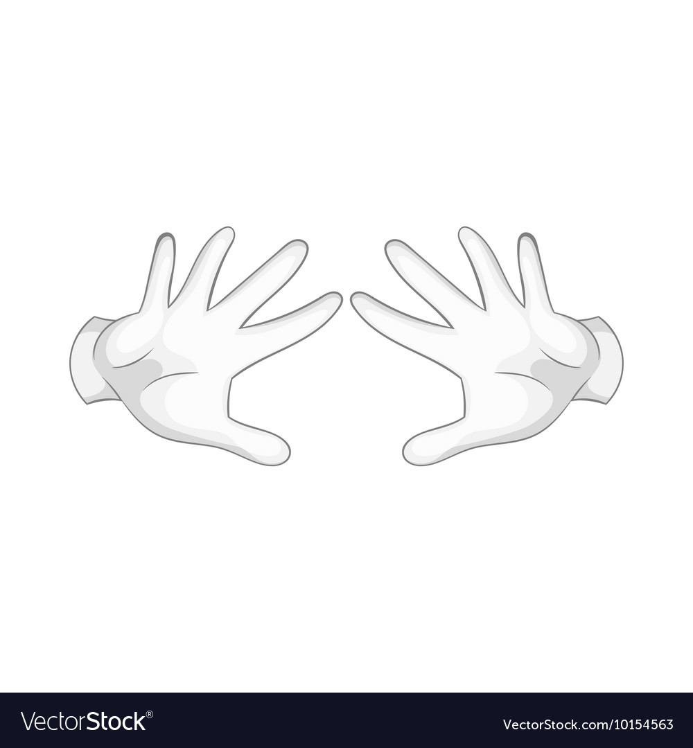 Magician hands in white gloves icon cartoon style vector