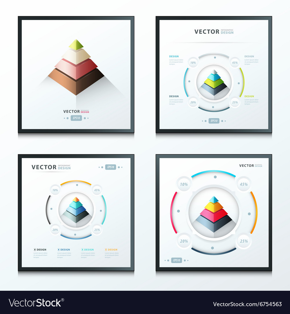 Pyramid infographic set vector