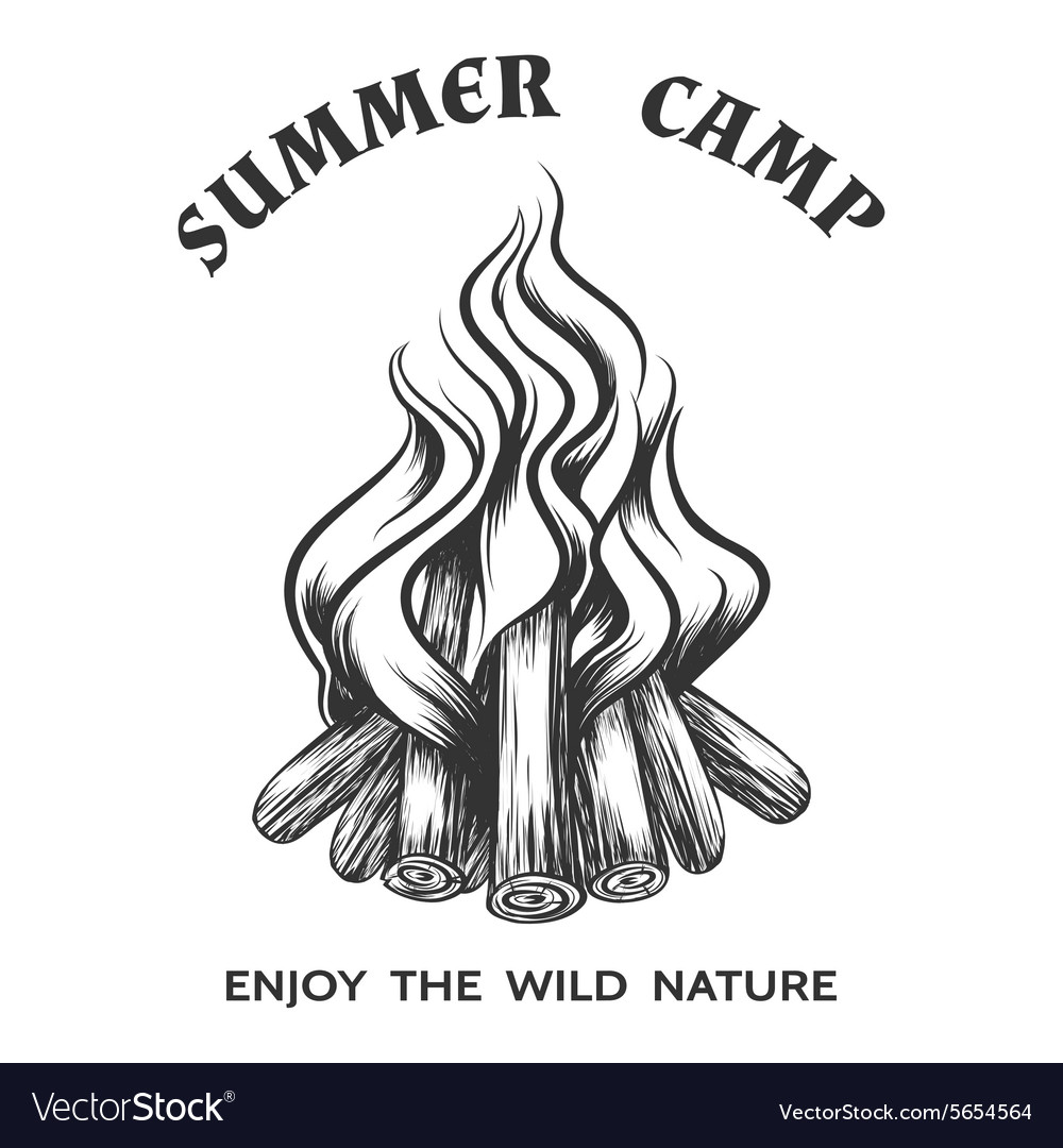 Poster with hand drawn campfire vector