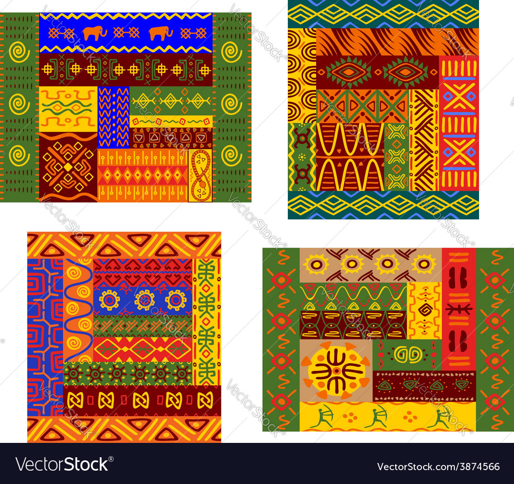 African primitive geometric ornamental pattern vector