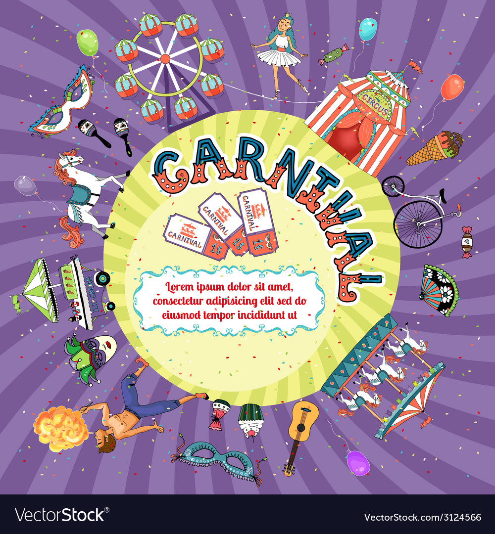 Carnival invitation design vector