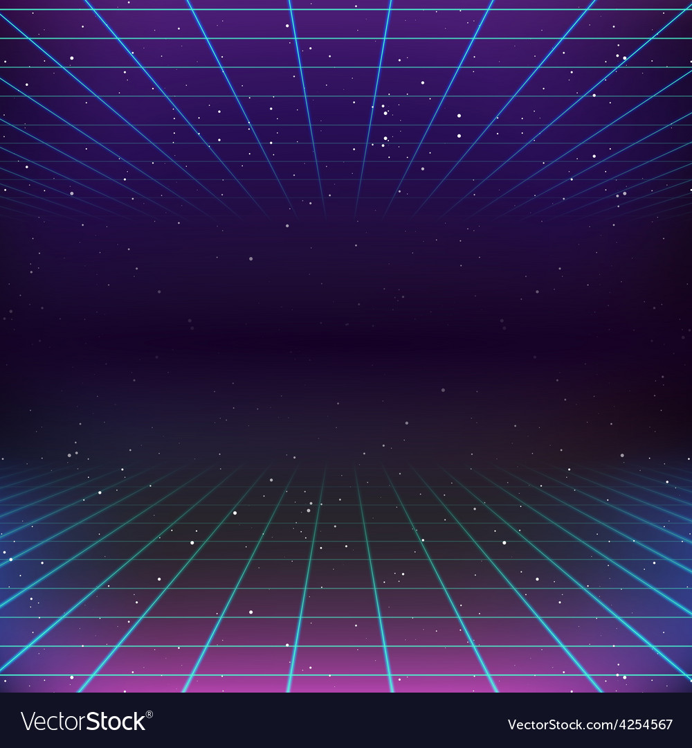 80s retro scifi background vector
