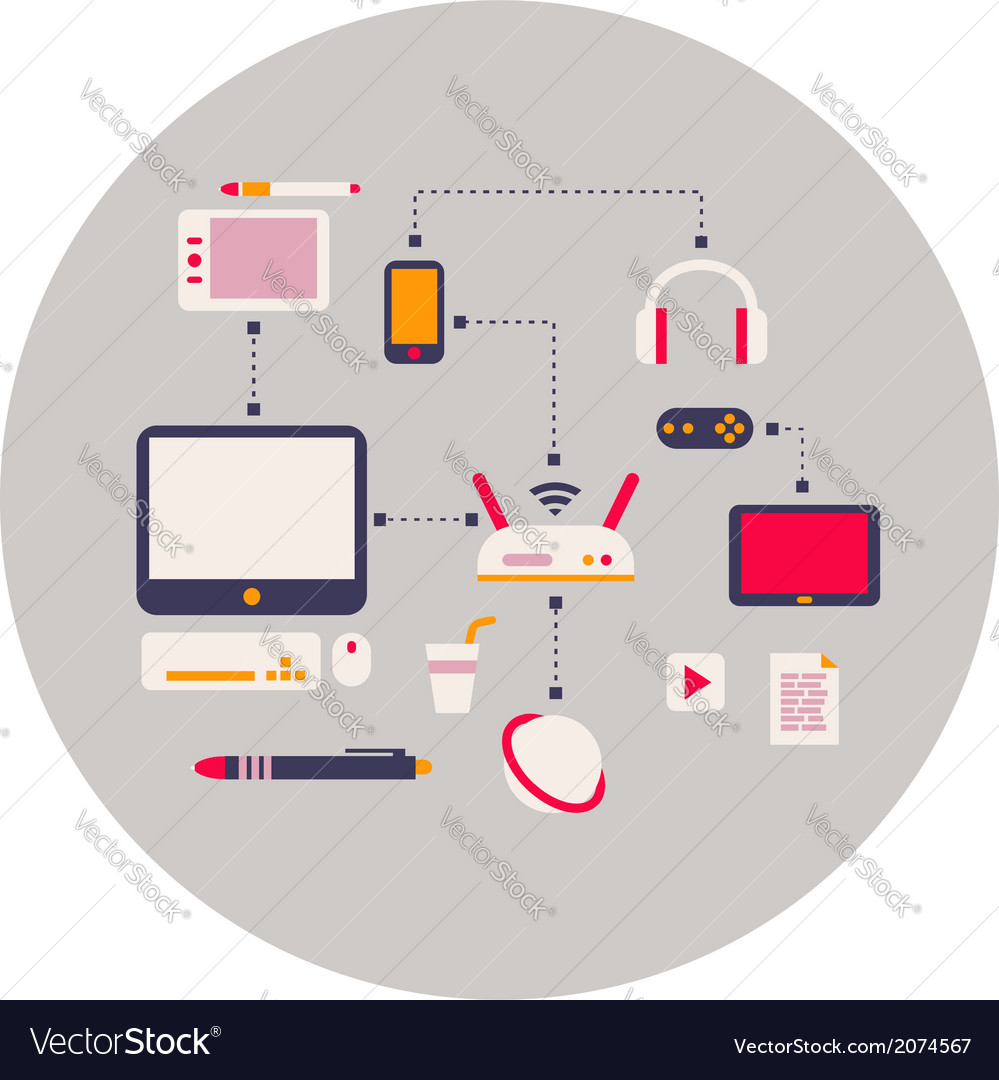 Computer devices element flat design vector