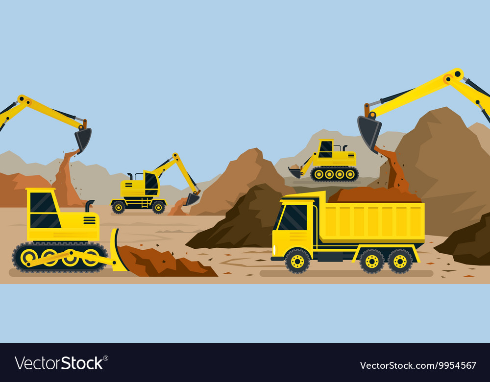 Construction earthworks quarry background vector