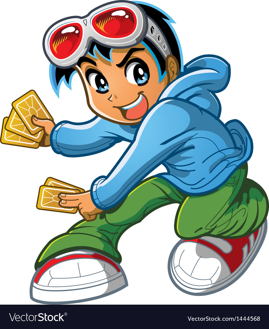 Anime manga boy playing card game vector