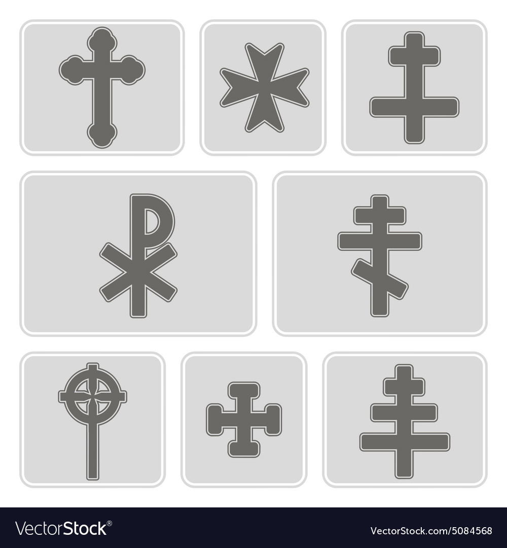 Monochrome icons with different crosses vector