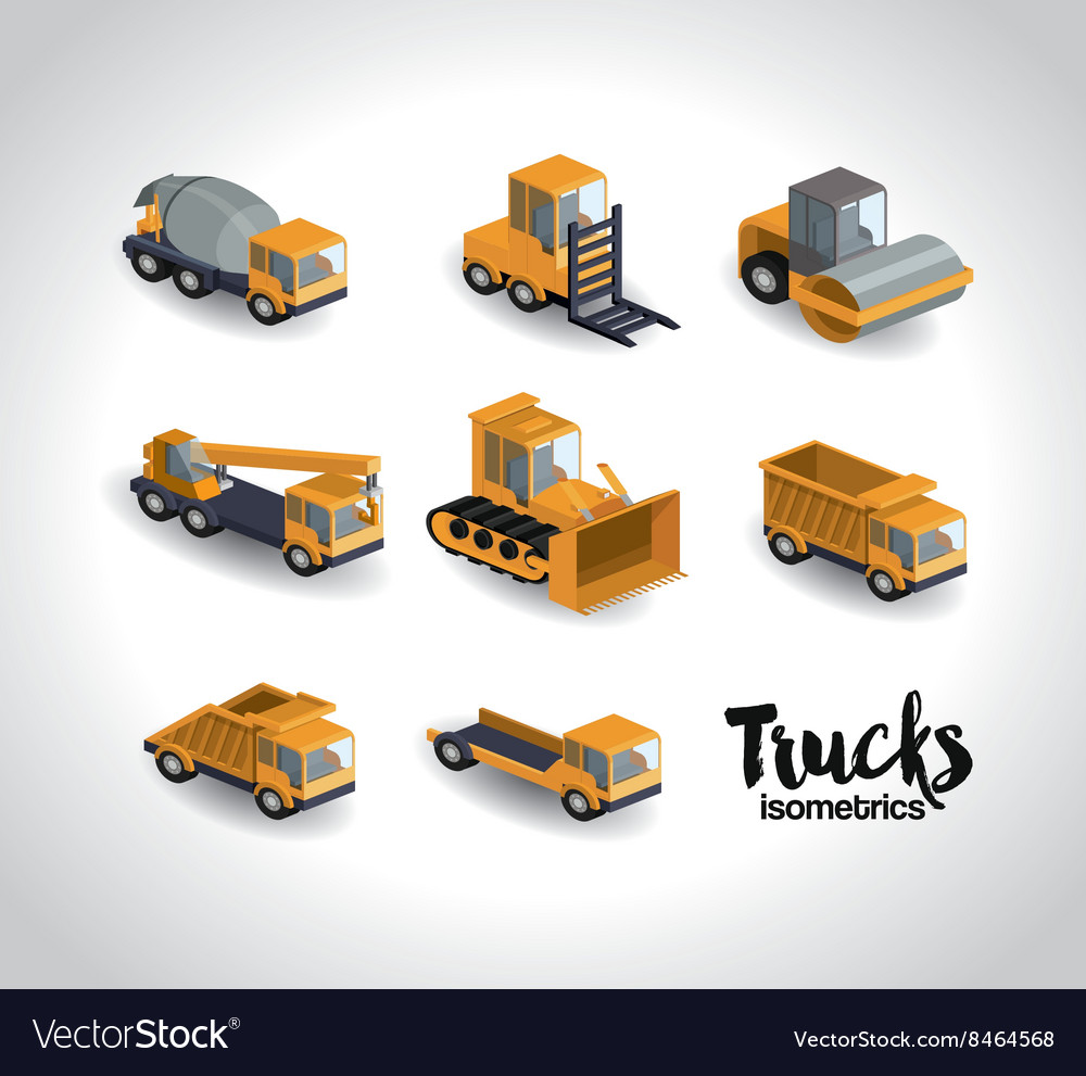 Trucks isometrics design vector