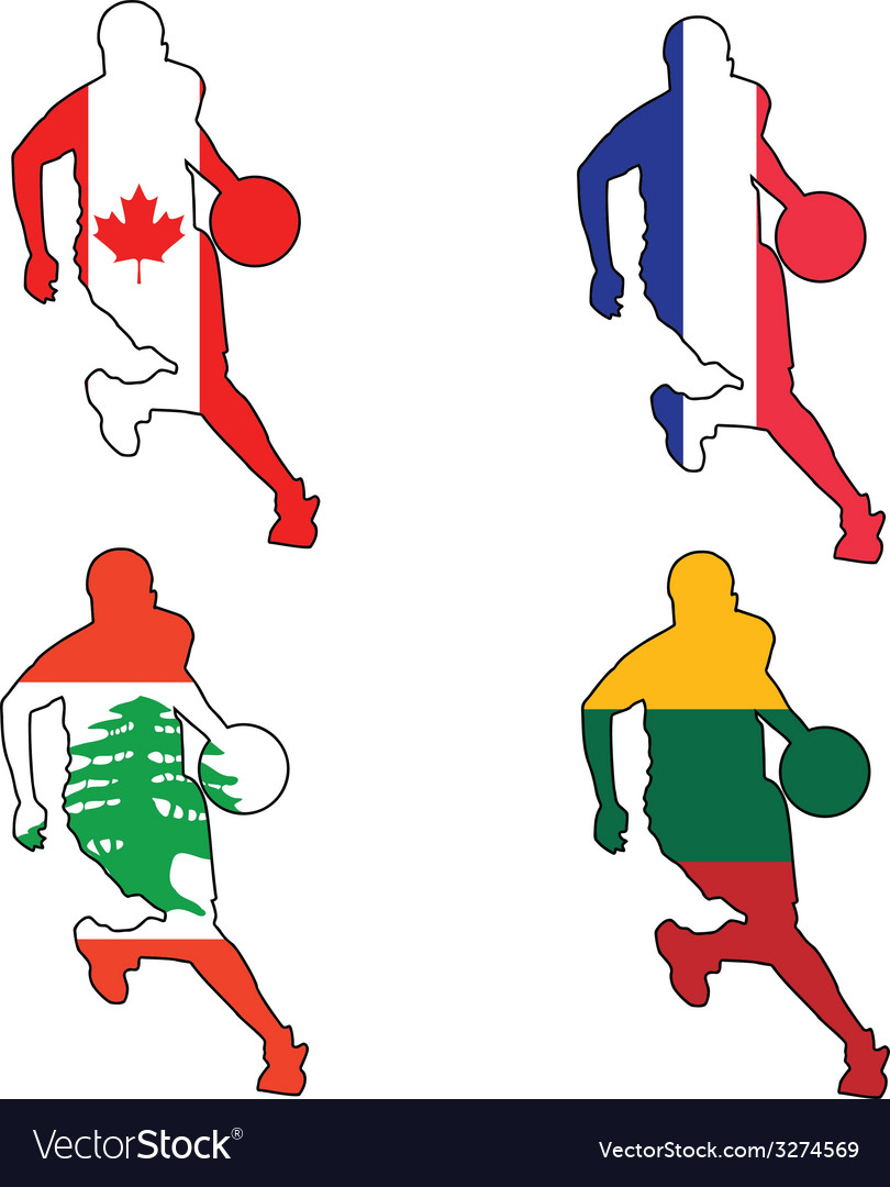 Basketball colors of canada france lebanon lithuan vector
