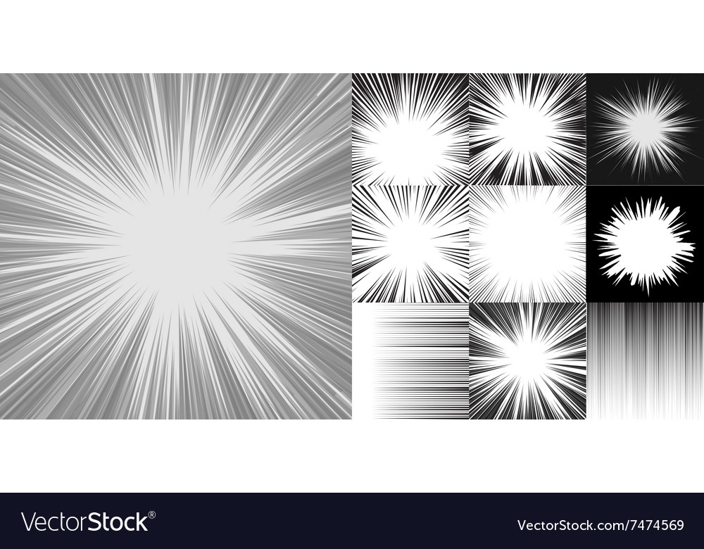 Comic book speed horizontal lines background set vector