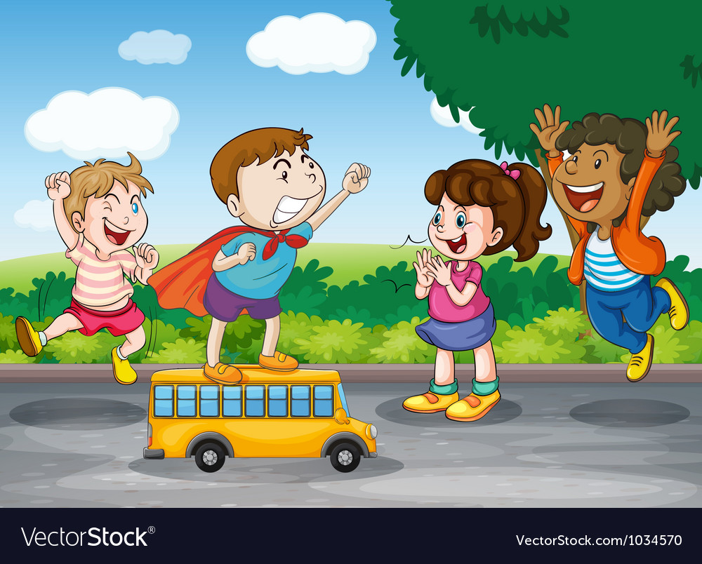 Kids and toy bus vector