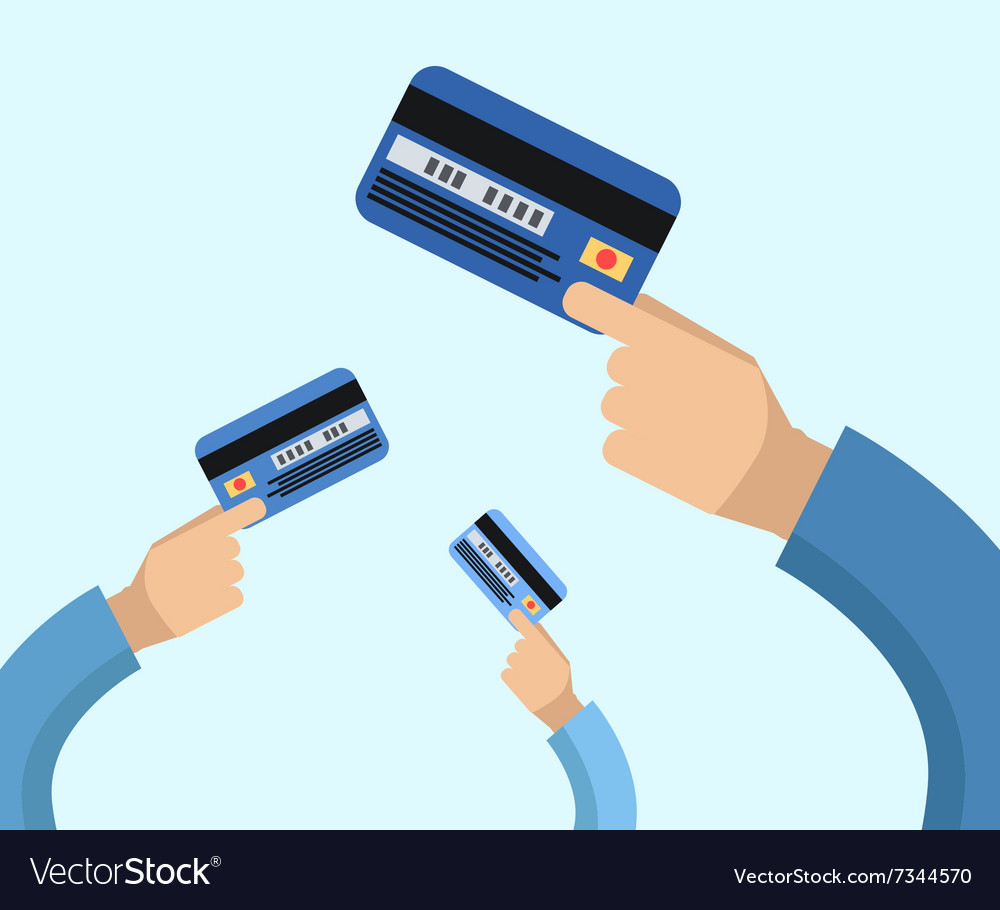 Many hands hold a credit cards vector