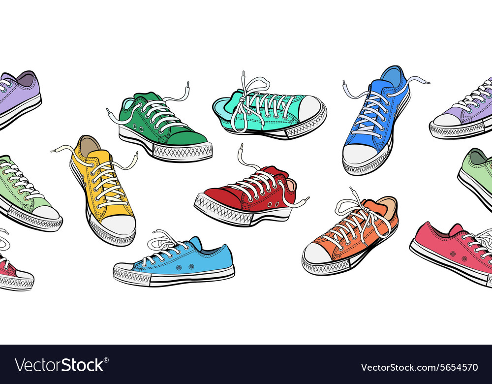 Sneakers shoes horizontal seamless pattern vector
