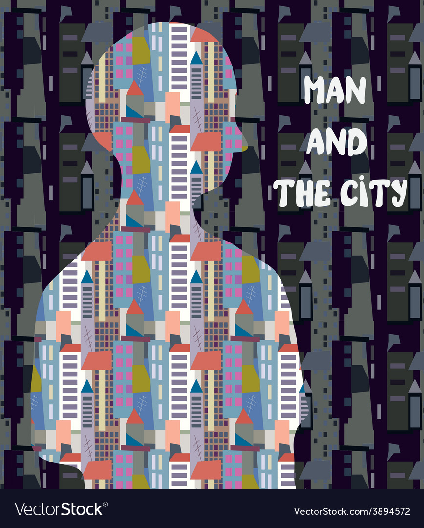 Architectural concept  man and the city vector