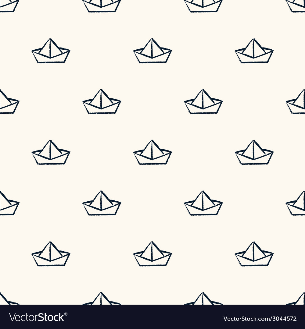 Seamless nautical pattern with paper boats vector
