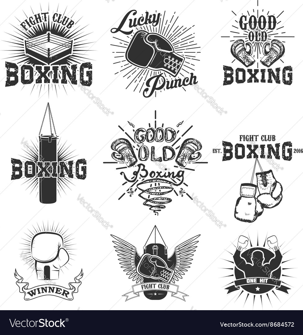 Set of the boxing club labels emblems and design vector
