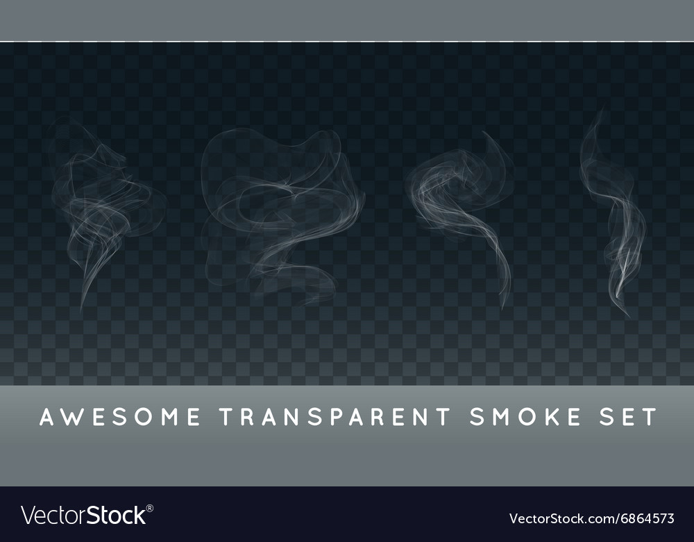 Collection or set of realistic cigarette smoke or vector