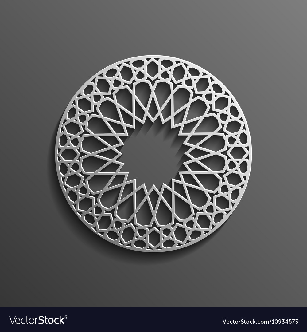 Islamic 3d on dark mandala round ornament vector