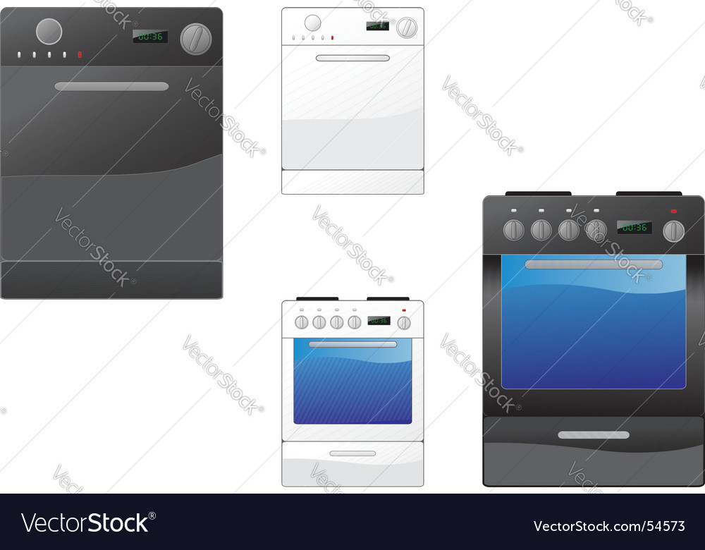 Stove and dishwasher vector