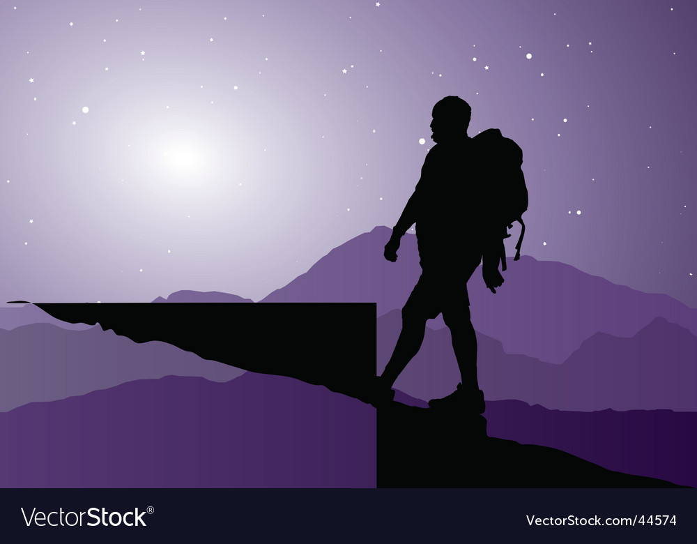 Backpacker going up the mountain vector