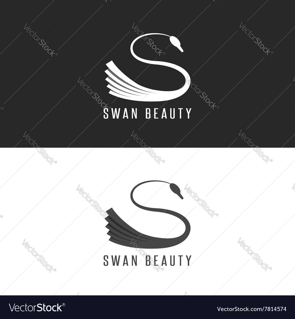 Swan logo mockup beauty salon bird emblem vector
