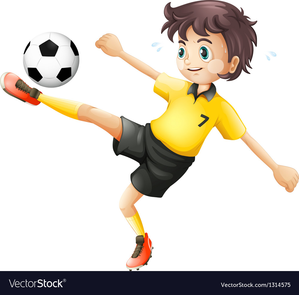 A boy kicking the soccer ball vector