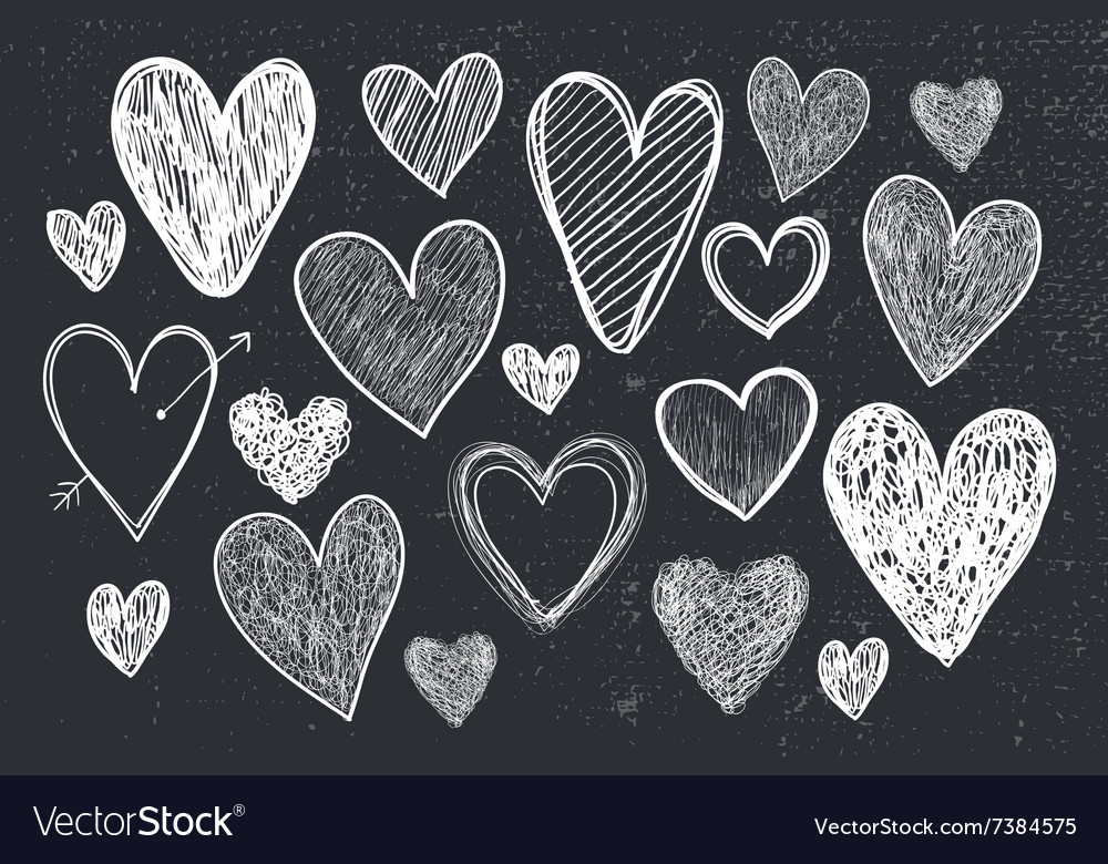 Set of hand drawn doodle hearts black and vector