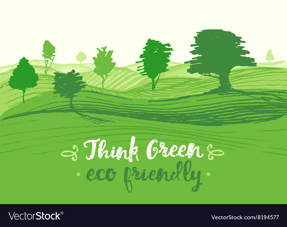 Drawn green background eco vector