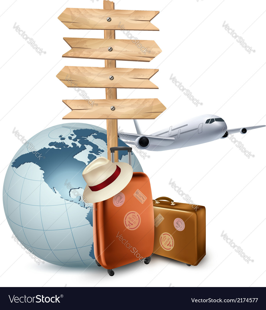 Two travel suitcases a plane a globe and a vector