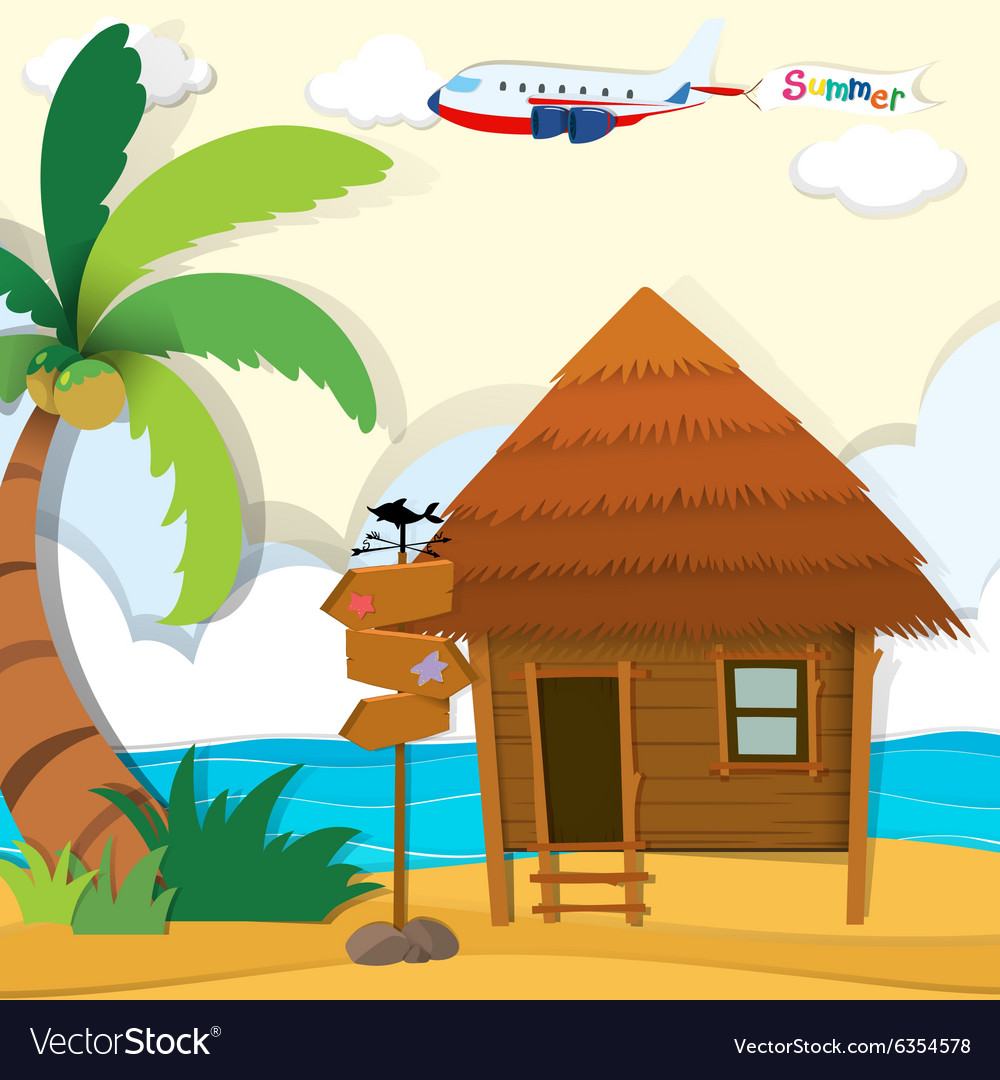 Cabin on the beach vector