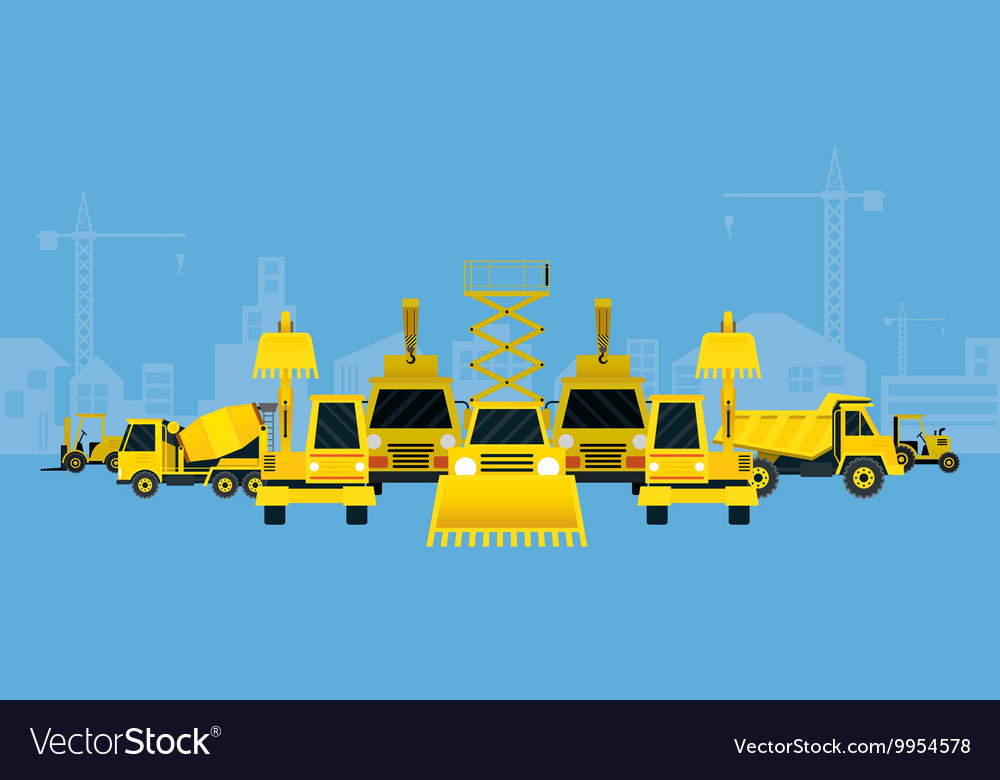Construction vehicles various type display vector