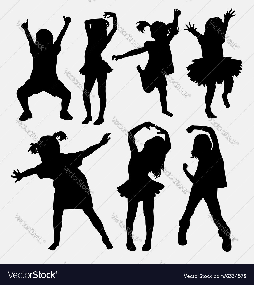 Kid little girl dancing silhouettes vector