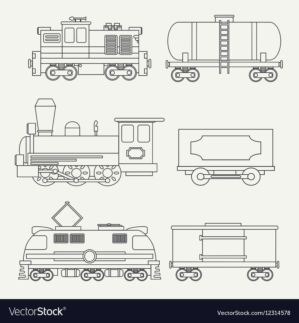 Line modern and vintage trains with cargo wagons vector
