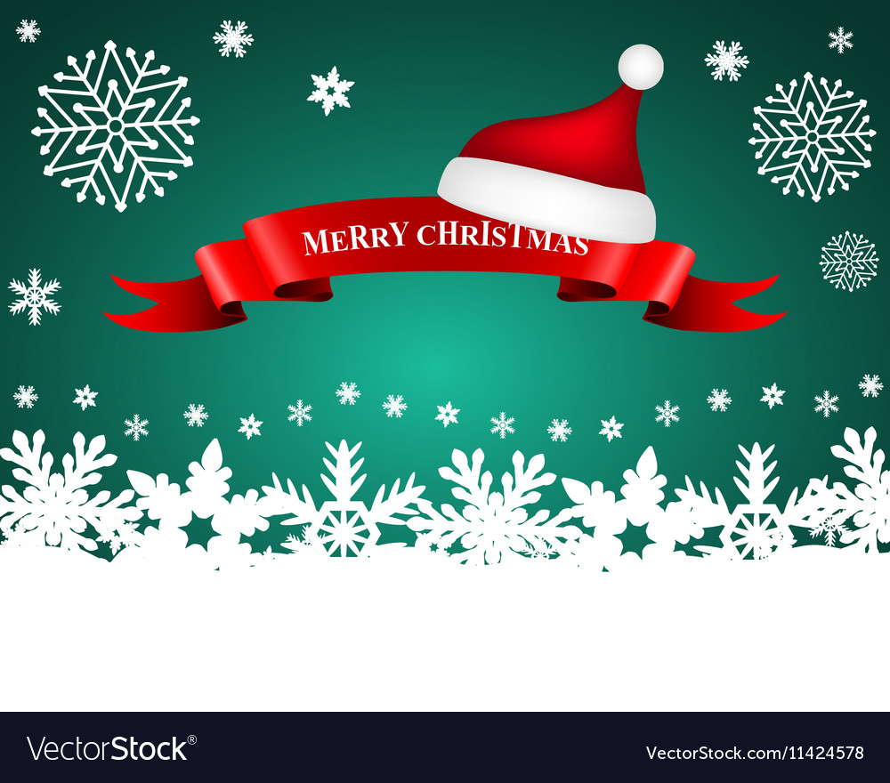 Ribbon with santa caps on background christmas s vector