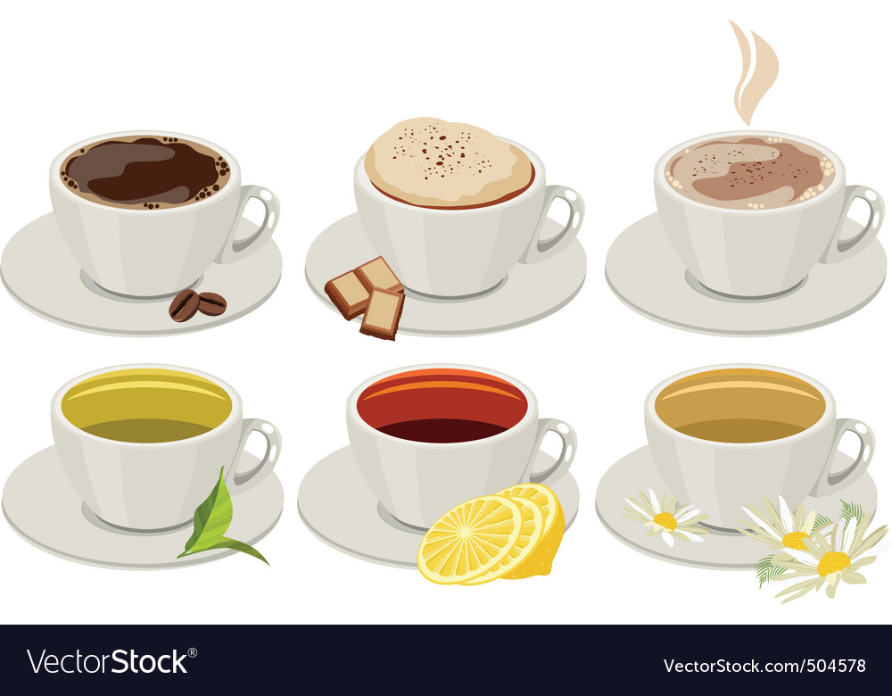 Set of cups with hot drinks vector