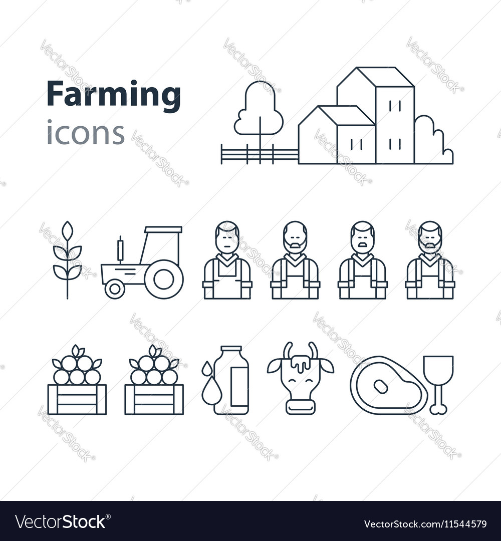 Farming products icons set farm house fruit vector