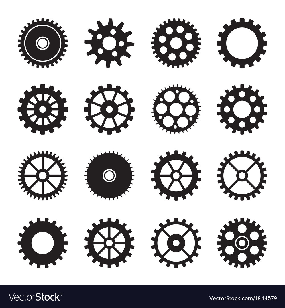Gear wheel icons set 2 vector